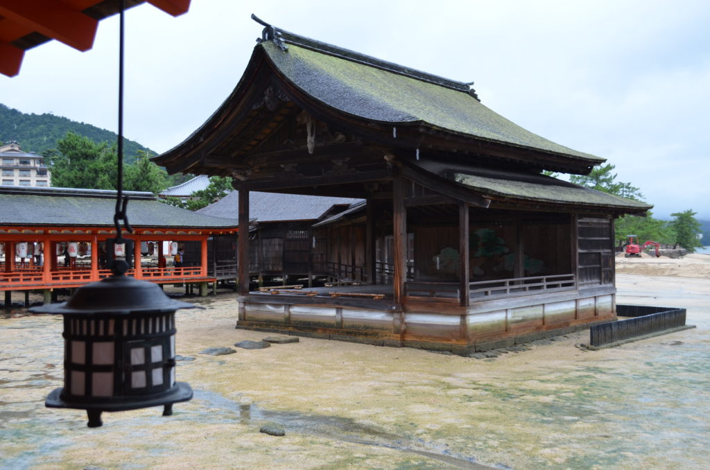 The outdoor nogaku stage at Itsukushima shrine is covered by two tiered roof