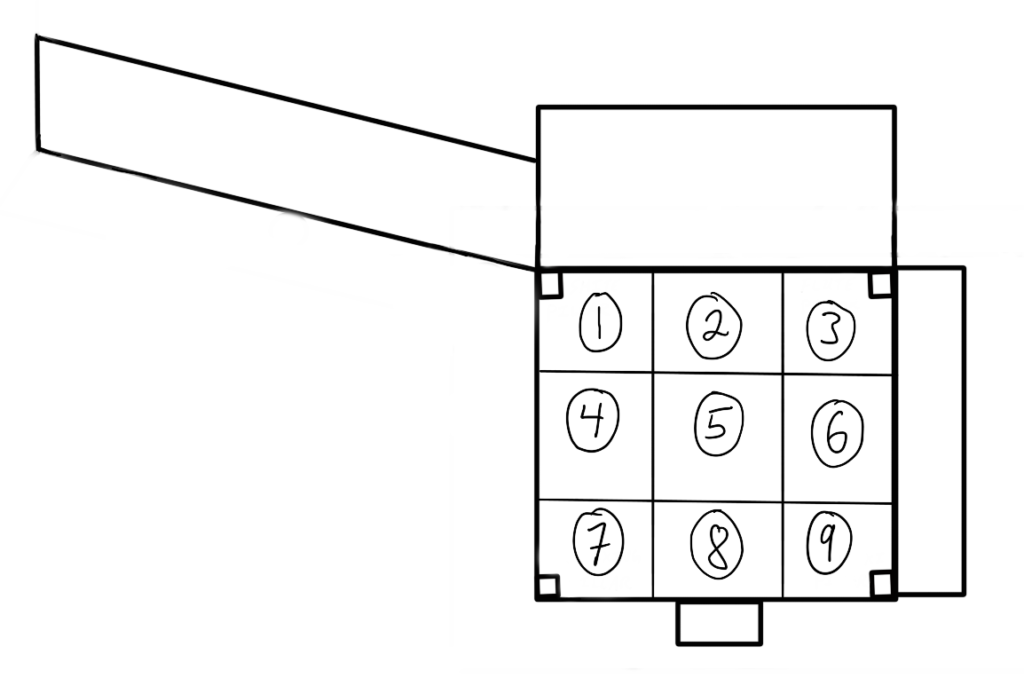 A black and white bird's-eye view of the square noh stage divided into a 3X3 grid with the numbers 1 through 9 running from right to left, top to bottom.