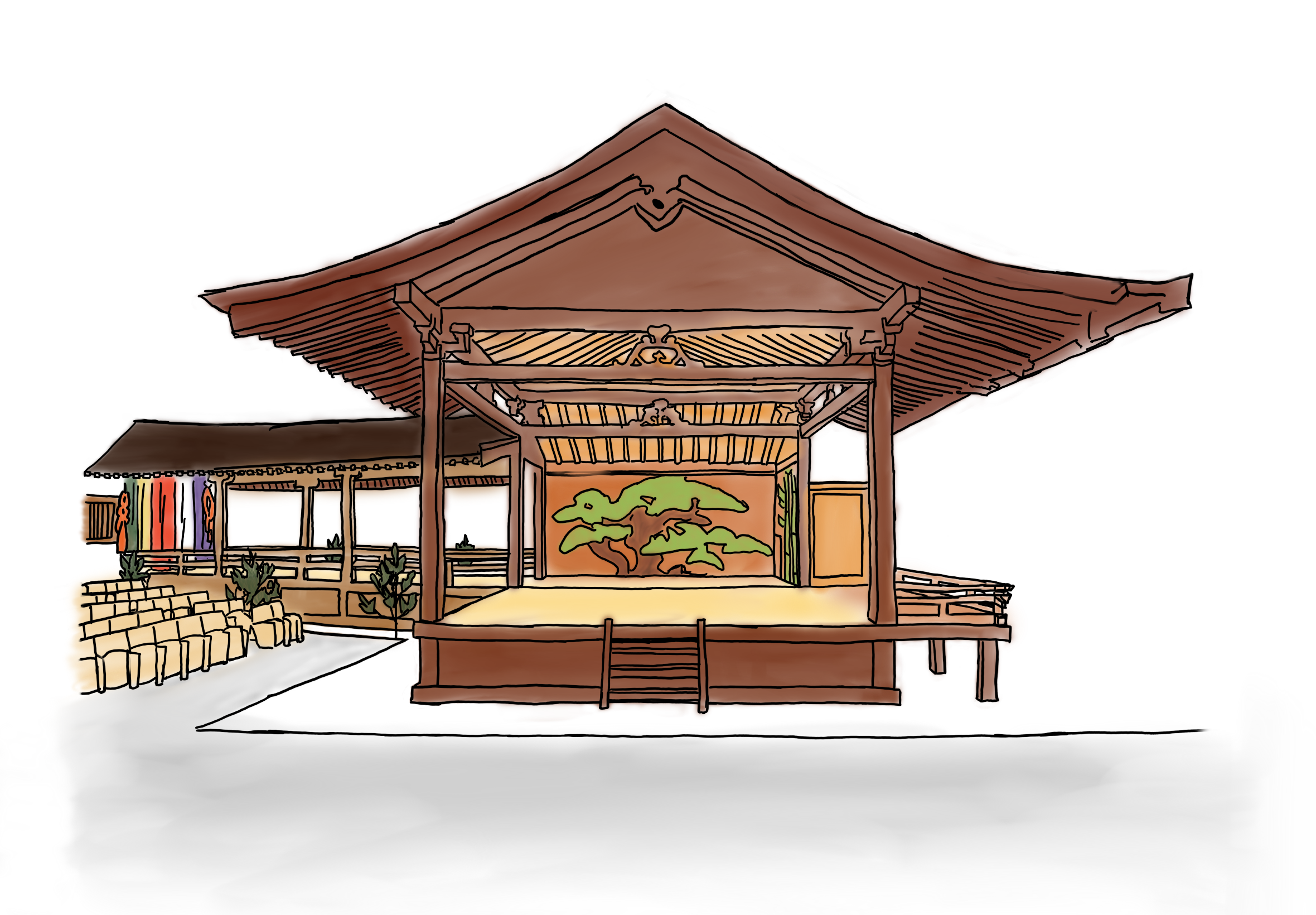 A coloured sketch of a noh stage