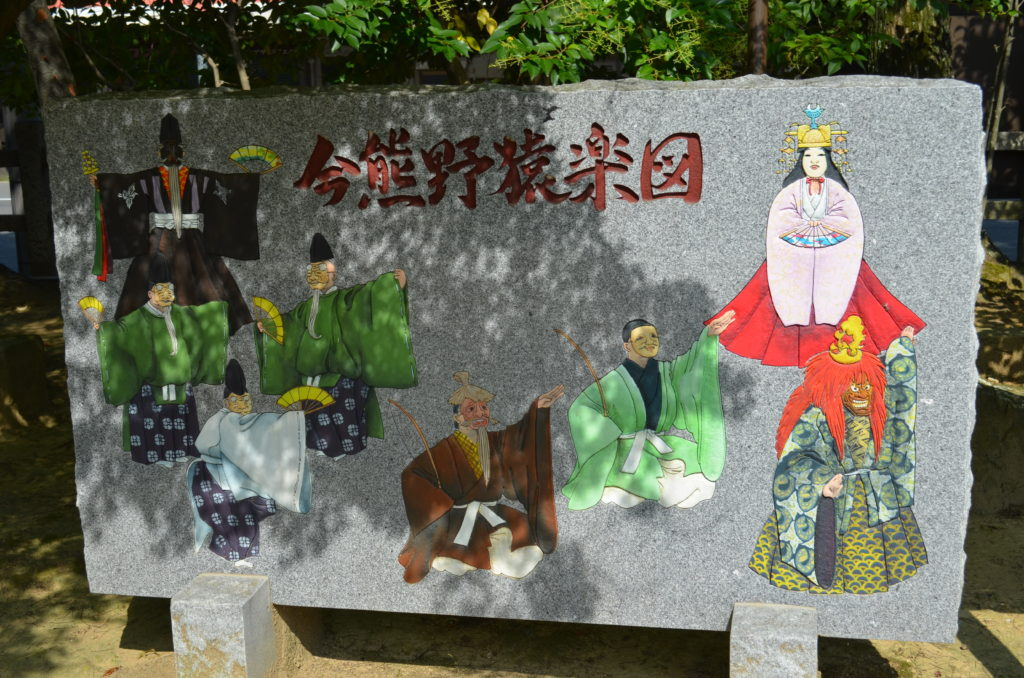 A rectangular stone sign depicting eight different noh characters and Japanese kanji characters