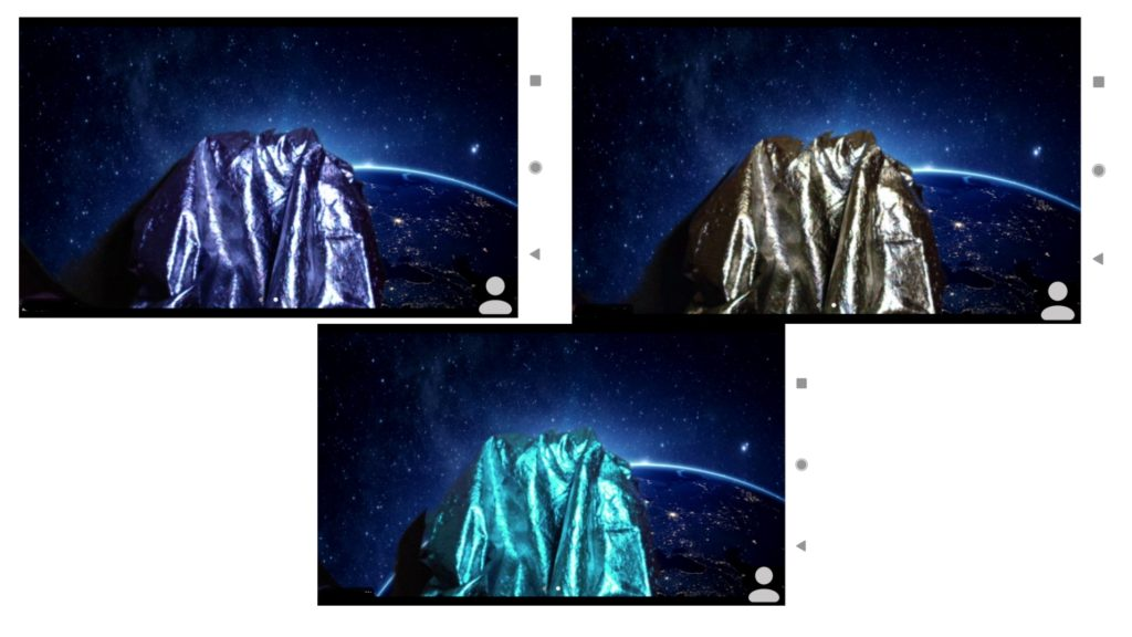 Three pictures of a silver material in front of various light sources. One appears purple, the other gold and the third a turquoise.
