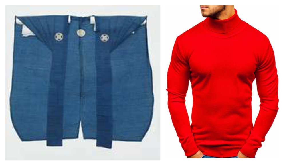 A blue kataginu on the left, a picture of the torso of a man in a red turtle neck.