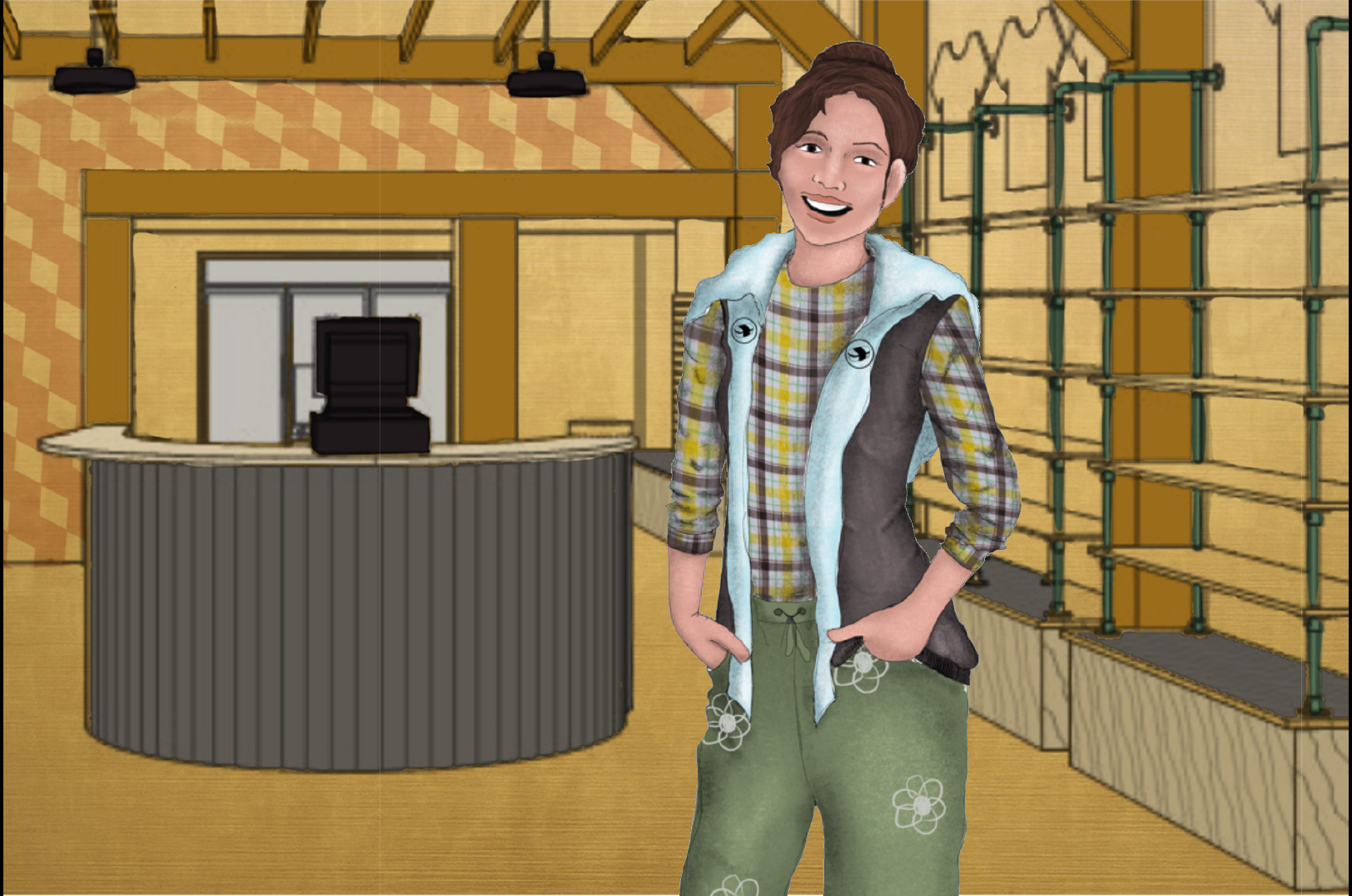 A costume rendering of an actor wearing a plaid shirt, a blue and purple vest with black crests, and green flower patterned pants