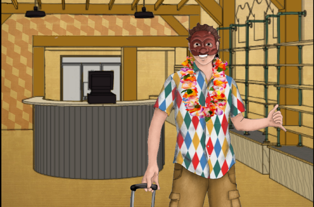 A costume rendering of an actor throwing a shaka and dragging a suitcase wearing a multi-coloured, diamond pattern shirt and a lei over khaki shorts wearing an arlecchino commedia dell'arte mask