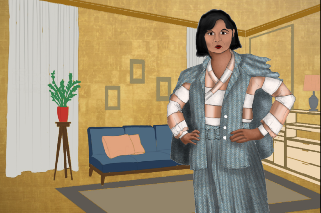 A costume rendering of a woman in a horizontally patterned long sleeved shirt with grey pants and a grey cape jacket draped over her shoulders.