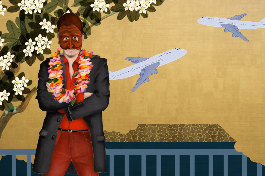 A costume rendering of an actor wearing a red collared shirt, red pants, a long black jacket, a lei, and a pantalone mask.