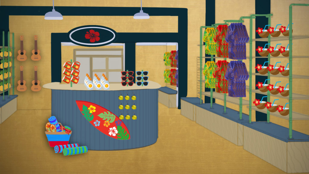 An illustration of the inside of an ABC convenience store. The shelves are filled with coconut cups, hawaiian shirts, ukeleles, pineapples, mugs, sunglasses, beach towels, boogie boards and sunscreen.