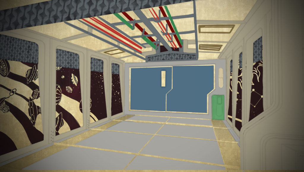 A grey hallway with piping on the ceiling, floor to ceiling windows on either side that look out to space, and a large door at the end
