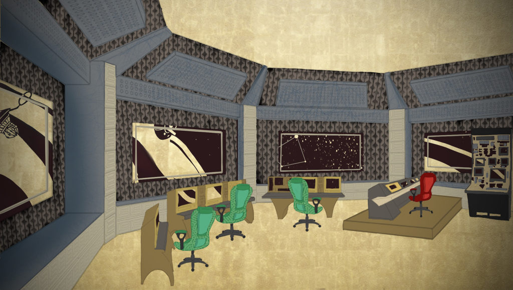 An illustration of a spaceship control center with three green chairs in front of screens, a red chair on top of an elevated control panel, and four windows looking out to an stylized space background