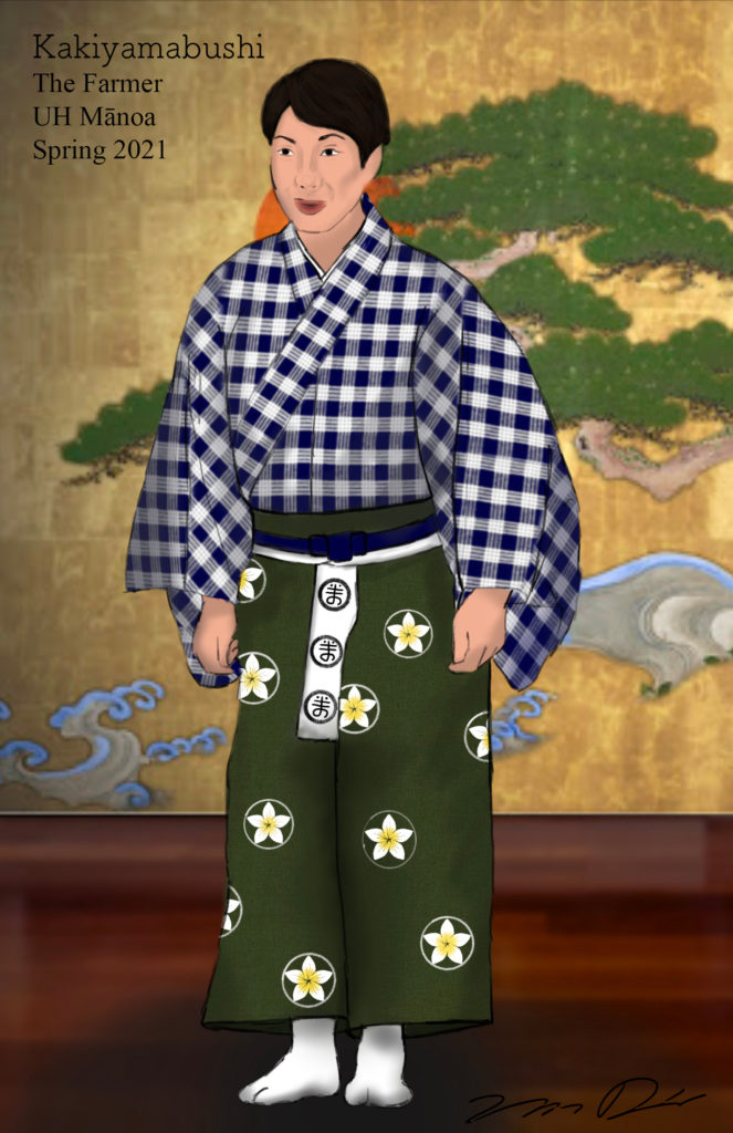 Costume rendering of a man in a blue and white palaka kimono and a purple hakama with a plumeria crest pattern against a gold background.