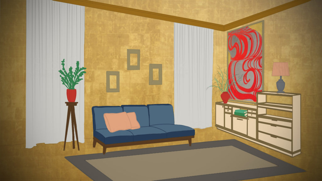 An illustration of a living room with a couch, a floor rug, shelves and paintings on the wall on a gold background.