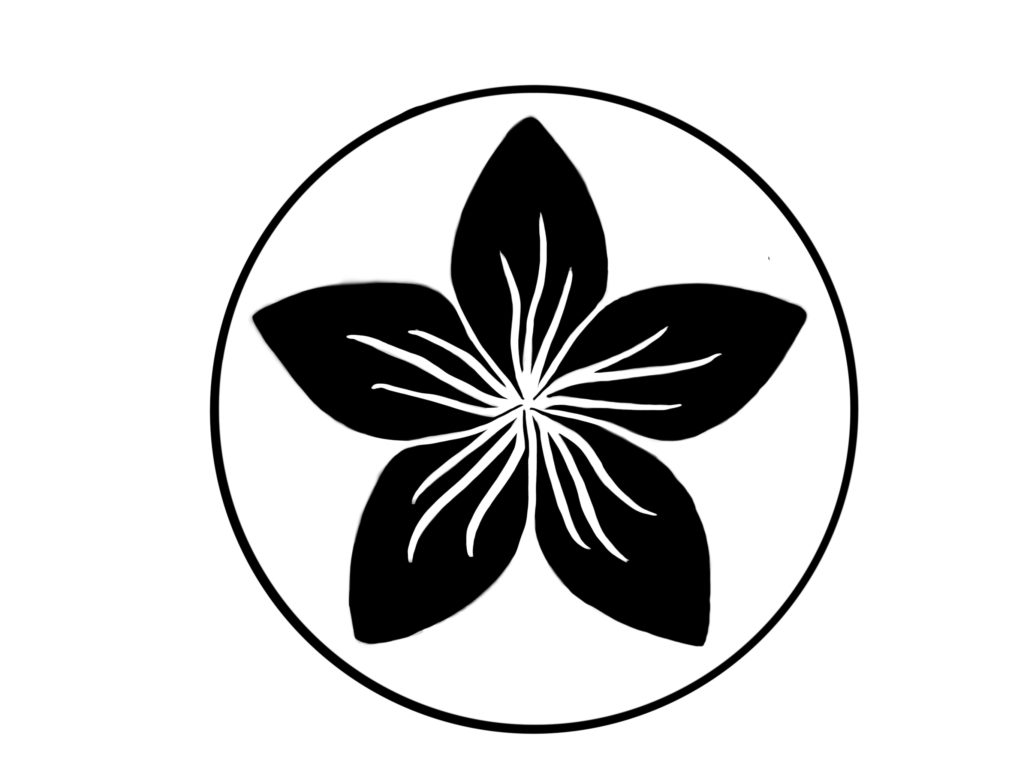 A black, circular crest that features a black plumeria illustration in the center.