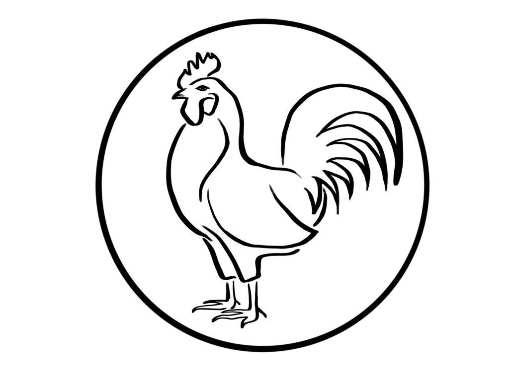 A circular crest with a simple black and white illustration of a rooster.