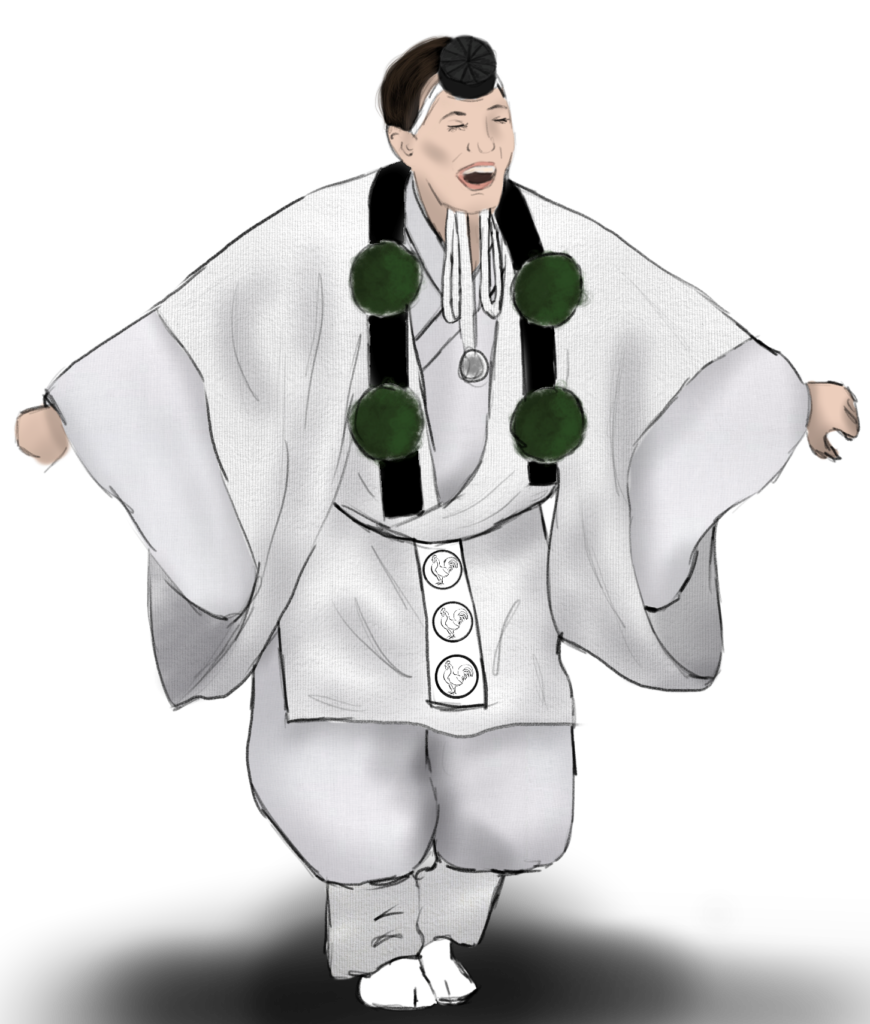 A costume rendering of a person in a white kimono, white hakama tied up under the knee, a small black hat, and green bobbles around their neck.