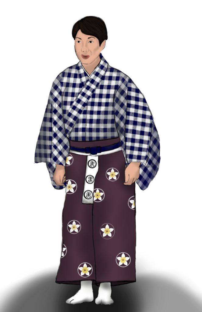 Costume rendering of a man in a blue and white palaka kimono and a purple hakama with a plumeria crest pattern.