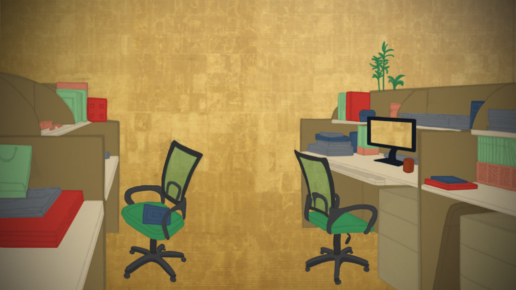 Illustration of a classic office space with desks, rolling chairs, files and a computer monitor on a gold background.