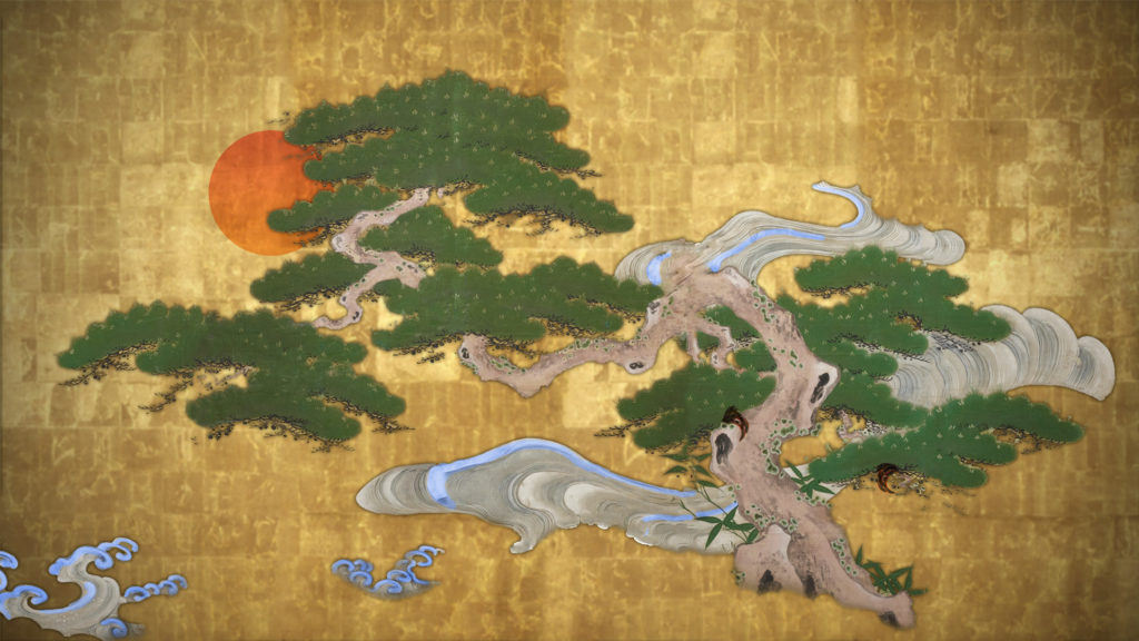 A nobby Japanese pine on top of a textured gold background with an orange sun and blue and white waves.