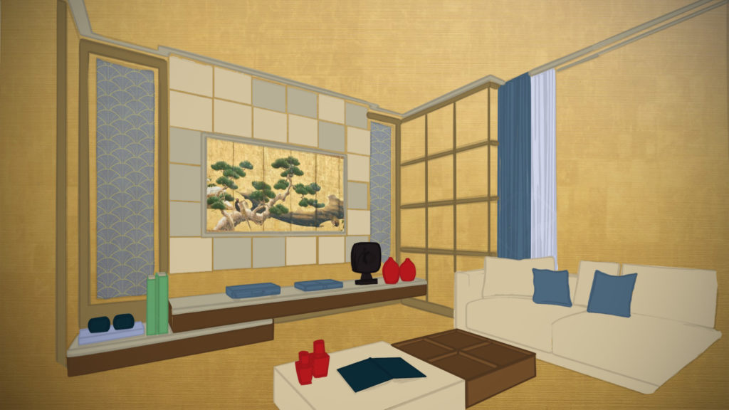An illustration of a living room with a couch, low coffee table, and shelving with a picture of a pine tree on a gold background on the wall.