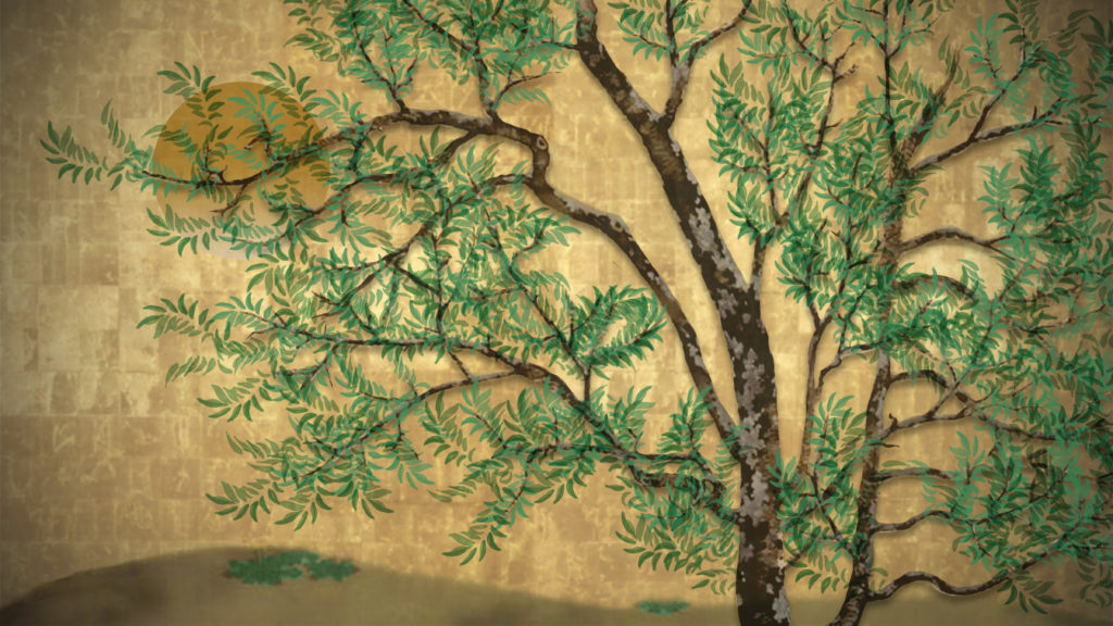A illustration of a pecan tree on a gold background with a golden sun in the visible through the branches.