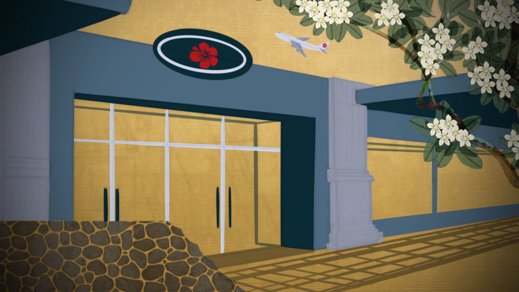 Illustration of a store front in Waikiki with a blue and red hibiscus sign with a plane overhead and a plumeria tree in the foreground.