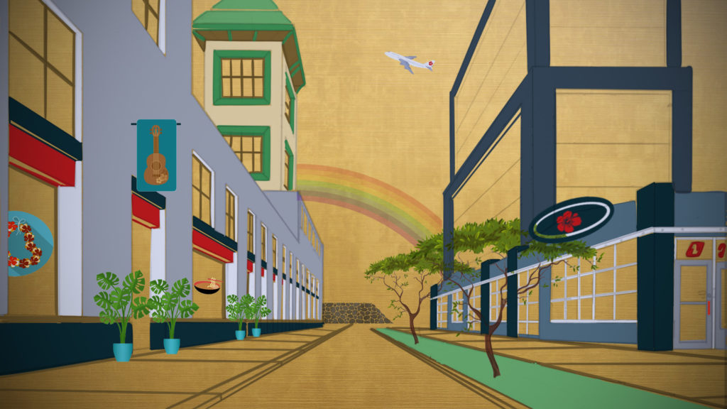 A illustration of Waikiki storefronts on a gold background with a rainbow and plane in the sky.