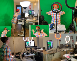 A collage of images of a woman wearing a diamond patterned shirt and an Arlecchino half mask in front of a green screen and surrounded by lamps, ring lights, tripods, a monitor, and desks with cables and props strewn across them.