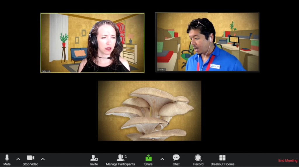 A zoom session in which a women in a black shirt and a man in a blue polo with a red lanyard react to a mushroom in its own zoom box