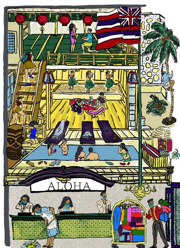 A cross-section illustration of a hotel with unmasked tourists on the upperlevels and masked, uniformed hotel workers on the lowest level.