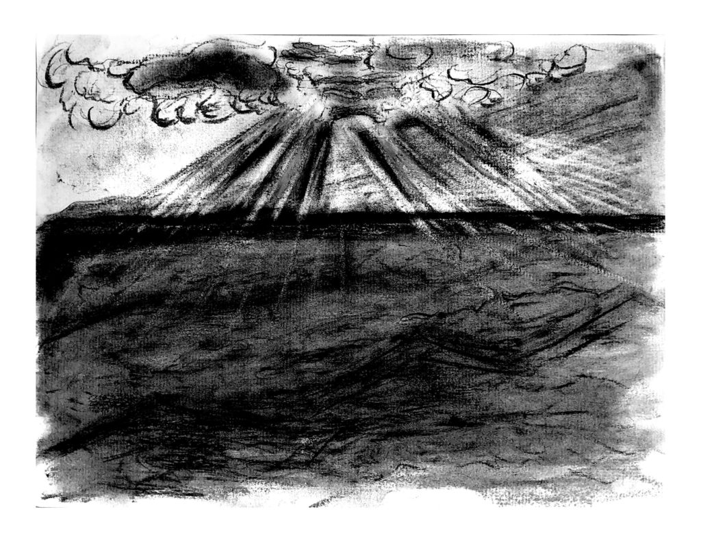 A charcoal sketch of a volcano stretching up from the ocean into a clouds above.