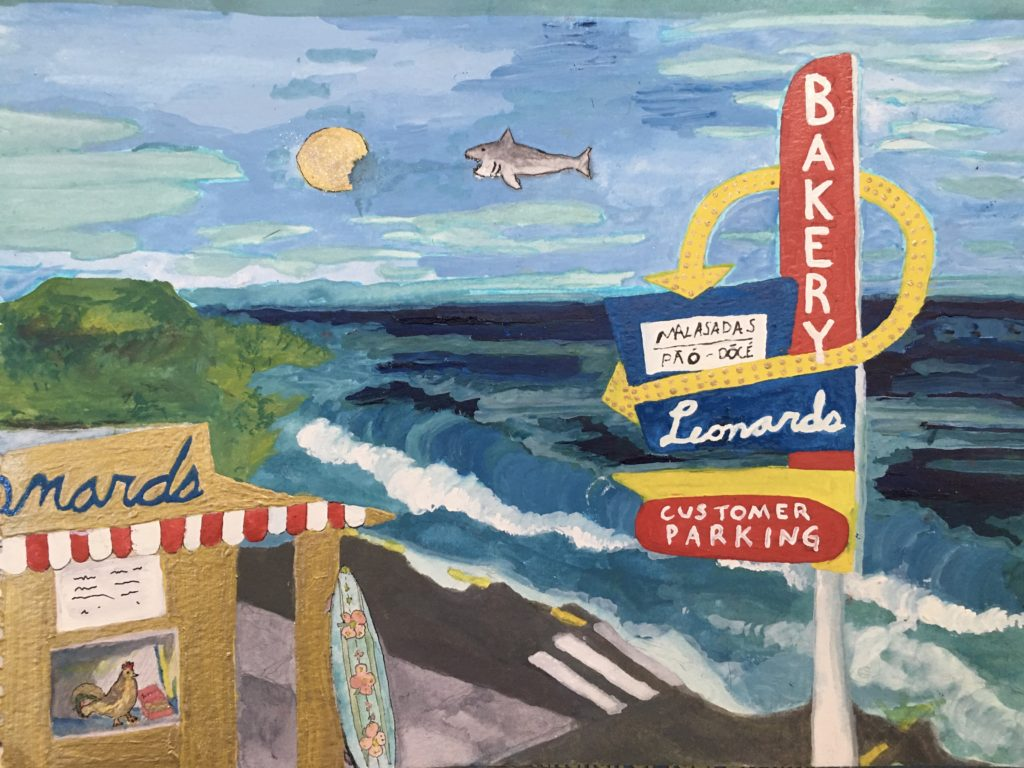 A painting of waves washing up to Leonard's Bakery in Honolulu with a golden sun and a shark in a blue sky.