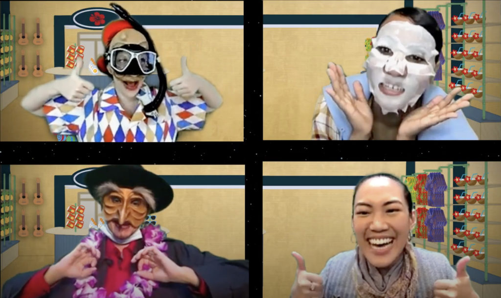 Four actors, each in their own box, smile at towards the front while posing to show off a variety of masks.