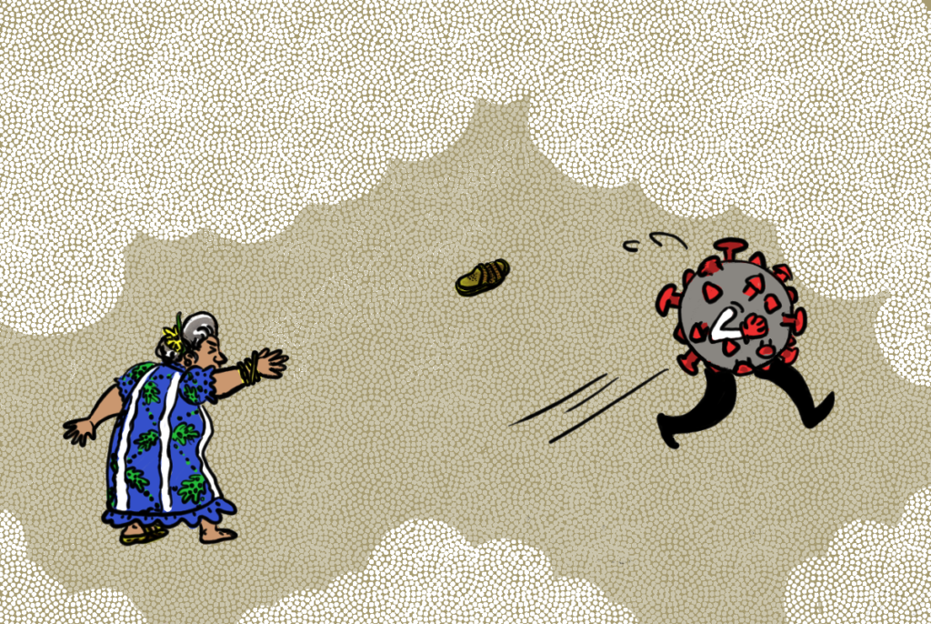 An old lady throws a slipper at a Corona virus with legs