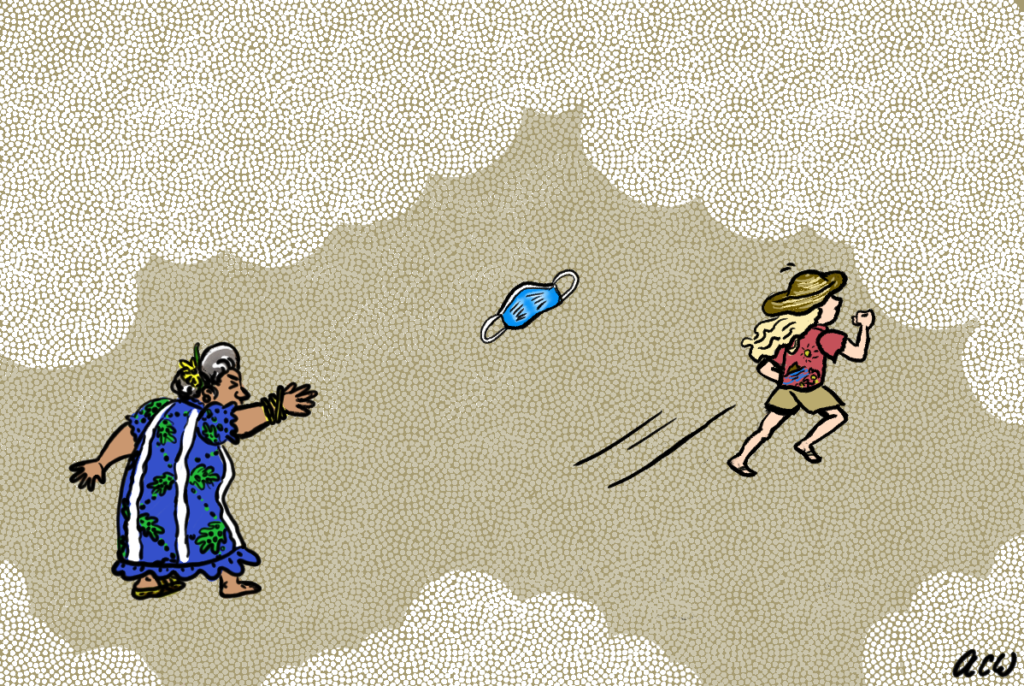 An old lady throws a mask at a girl with blonde hair, a red t-shirt, shorts, and a sun hat who is running away